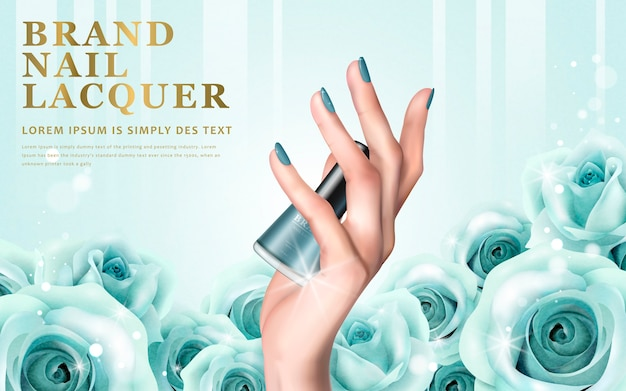 Delikatne elementy dłoni i butelki z lakierem do paznokci