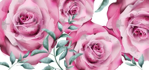 Delikatne kwiaty róży banner akwarela