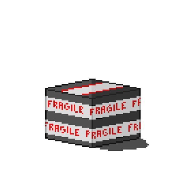 Delikatne pudełko dostawcze w stylu pixel art