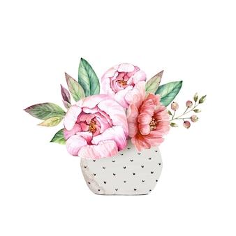 Delikatny bukiet w wazonie z różowymi kwiatami piwonii, akwarela ilustracja