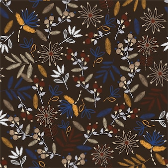 Delikatny haft ręczny w stylu vintage. tradycyjny kwitnący haft. projekt ilustracji wektorowych dla dekoracji domu, mody, tkanin, tapet i wszystkich wydruków
