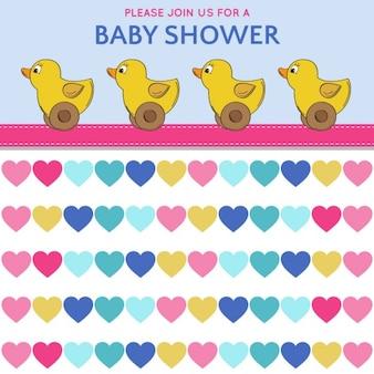 Delikatny karta baby shower z zabawkami kaczki