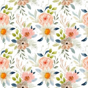 Delikatny kwiatowy wzór akwarela bezszwowe