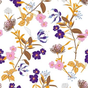 Delikatny kwitnący ogród kwiatowy wzór