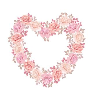 Delikatny różowy bukiet róż w kształcie serca.
