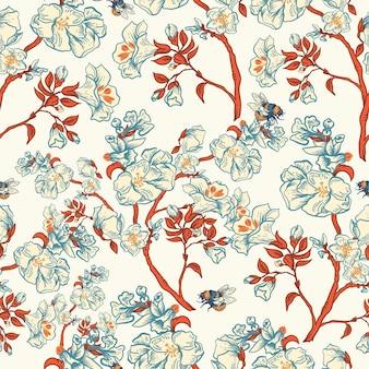 Delikatny wektor wzór kwiatowy wzór. kwiaty botaniczne. tekstura regencji, ręcznie rysowane tło w stylu barokowym