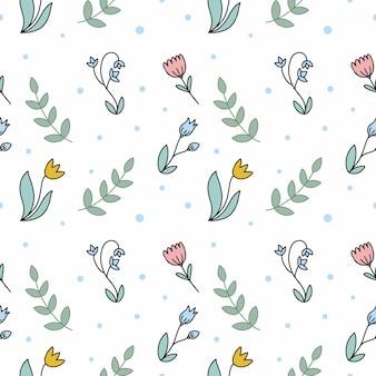 Delikatny wzór z kwiatami i roślinami. niekończący się wzór do nadruku na tkaninie i papierze opakowaniowym.