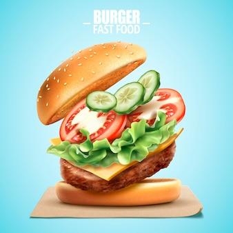 Deluxe king size burger ze smacznymi dodatkami w ilustracji 3d, element projektu fast food na niebiesko
