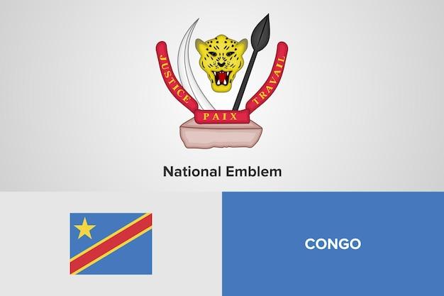 Demokratyczna republika konga szablonu flagi z godłem narodowym