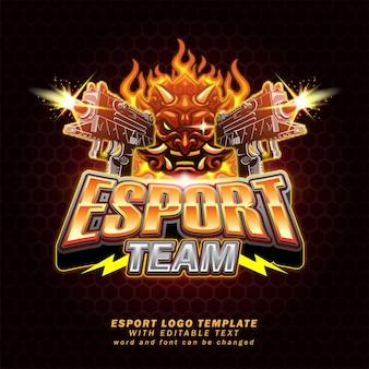 Demon broń e-sport logo gier edytowalny efekt tekstu