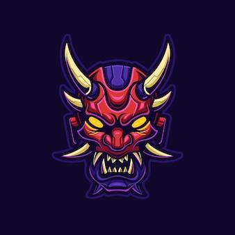 Demon diabeł głowa ilustracja kreskówka logo szablon. gry z logo e-sportu