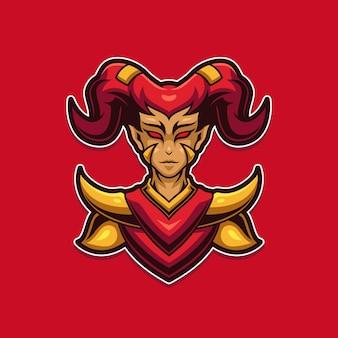 Demon girl e-sport gaming maskotka logo szablon