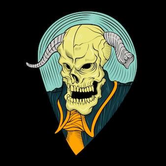 Demon głowy z rogiem, rysunek odręczny, na białym tle łatwe do edycji