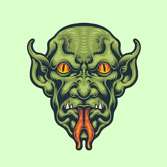 Demon head vintage styl