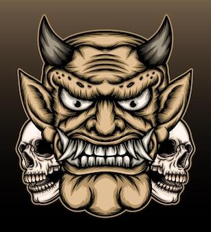 Demon z ilustracją czaszki.