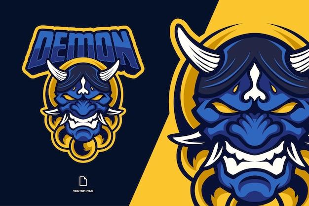 Demon zła japońska maska maskotka ilustracja logo