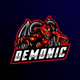 Demoniczne maskotka logo gier sportowych