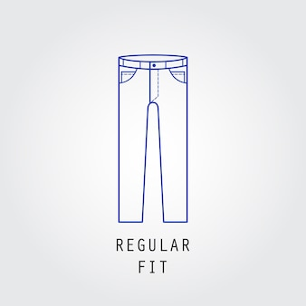 Denim fit ikona. rodzaj spodni i jeansów krój regularny. linia wektor ikona sylwetka.