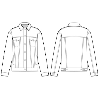 Denim jacket zewnętrzna moda szablon płaski szkic
