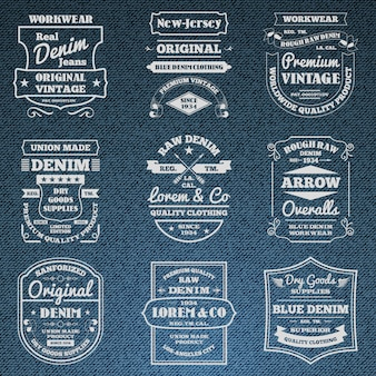 Denim jeans typografii logo herby zestaw