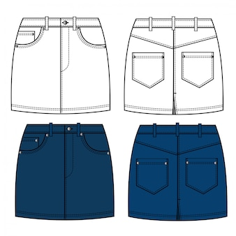 Denim mini spódnica moda płaski szkic szablon