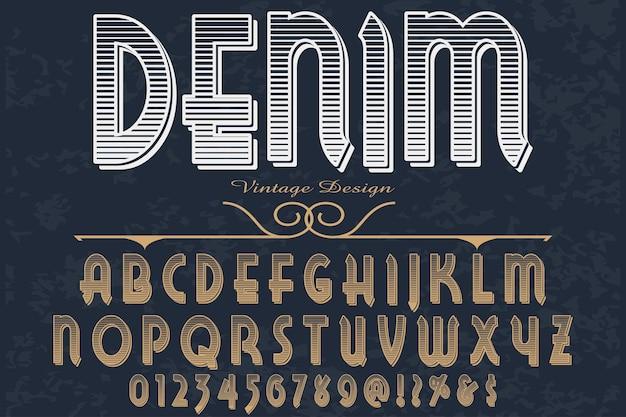 Denim shadow effect projekt etykiety alfabetu