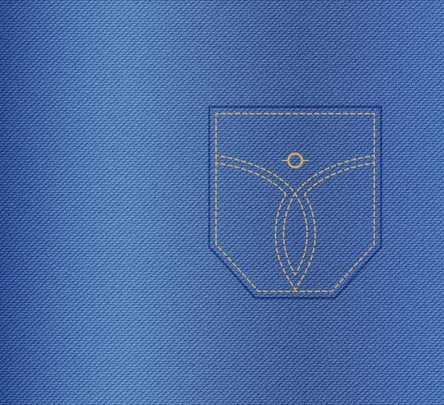 Denim tekstura, tło dżinsy z kieszenią na łatę. abstrakcyjna ilustracja odzieży