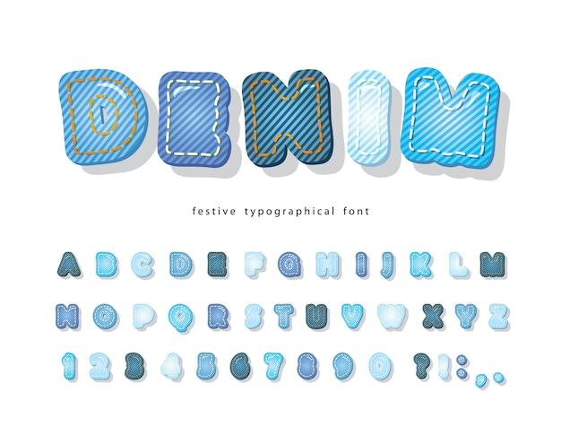 Denimowa czcionka. alfabet tekstura dżinsy.