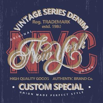 Denimowa typografia, grafika na koszulce, nadruk na koszulce vintage