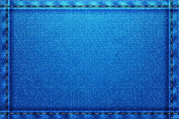 Denimowe prostokątne tło. niebieska szorstka faktura z nitkami.