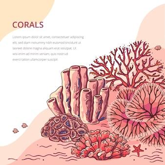 Denne rośliny i akwarium koralowy tło. natury sylwetki koralowa ilustracja.