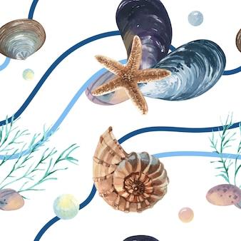 Dennej skorupy morskiego życia wzór bezszwowy, podróżuje wakacyjnego lato na plaży