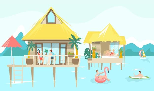 Denni bungalowu i letnicy zaludniają się na tropikalnym tajlandzkim kurorcie, urlopowa ilustracja.