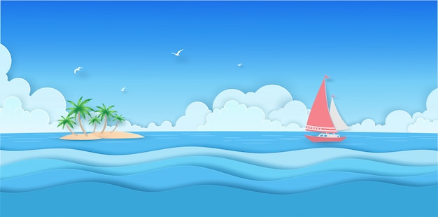 Denny głąbika widok z chmurą, wyspą, kokosowym drzewem i łodzią w summerwith papieru cięciu,
