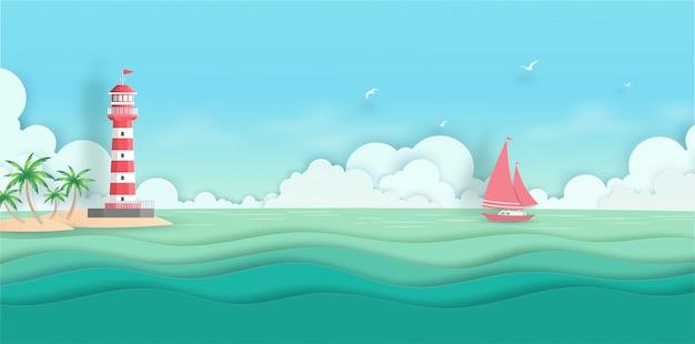 Denny głąbika widok z chmurą, wyspą, kokosowym drzewem, łodzią i latarnią morską w summerwith papieru cięciu