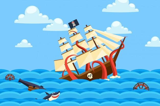 Denny potwór tonie statki w butelkach, ocean ilustracja. długie macki stworzenia niosą piracki żaglowiec pod wodą.