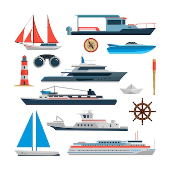 Denny wektorowy ustawiający statki, łodzie i jacht odizolowywający. elementy projektu transportu morskiego w stylu płaskiego. koncepcja podróży oceanu.