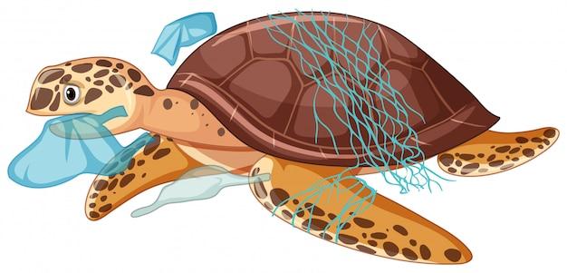 Denny żółw i plastikowi worki na białym tle