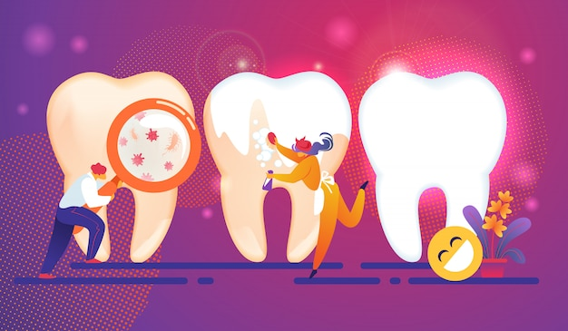 Dental care tiny people characters concept