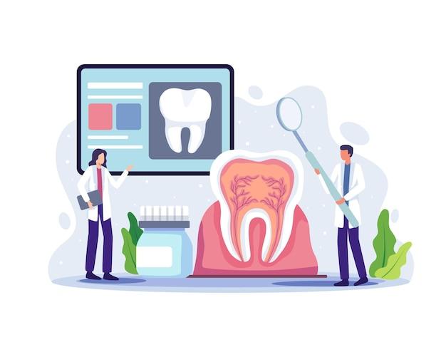 Dentyści ilustracja konferencji online. lekarz dentysta diagnoza i leczenie zębów ludzkich, koncepcja medycyny higieny jamy ustnej. ilustracja wektorowa w stylu płaskiej