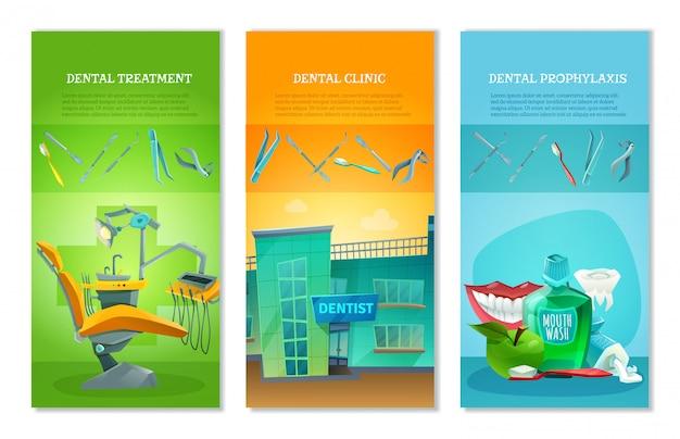 Dentysta 3 płaskie pionowe banery zestaw