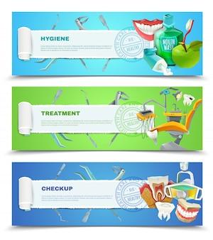 Dentysta 3 płaskie poziome zestaw banerów