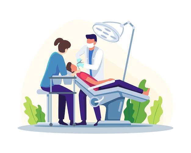 Dentysta badający lub leczący zęby pacjenta. lekarz dentysta badając pacjenta płci męskiej leżącego na krześle. rutynowe badania lekarskie. ilustracja wektorowa w stylu płaskiej