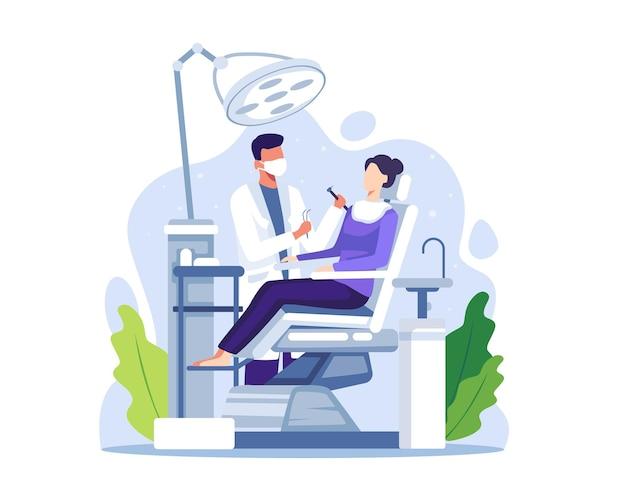 Dentysta badający lub leczący zęby pacjenta. lekarz dentysta badanie pacjentki leżącej w fotelu. rutynowe badania lekarskie. ilustracja wektorowa w stylu płaskiej