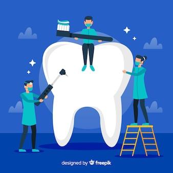 Dentysta czyści duży zębu tło