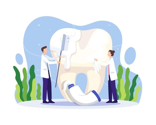 Dentysta, czyszczenie ilustracji zębów. zdrowie jamy ustnej i higiena stomatologiczna. dentysta czyszczenie i szczotkowanie dużego zęba szczoteczką do zębów i pastą. ilustracja wektorowa w stylu płaskiej