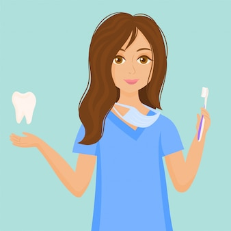 Dentysta kobieta koncepcja pielęgnacji zębów.