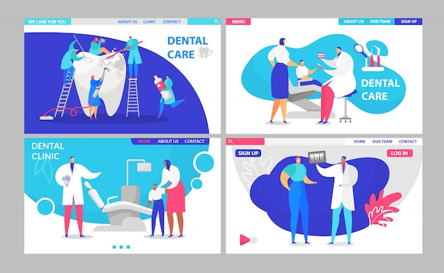 Dentysta lekarki wizyty lądowania strony ustawiają z pacjentami w klinice dentystycznej, zdrowym zębu leczeniu i malutkich medykach ilustracyjnych ludzi.