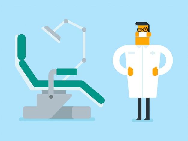 Dentysta stojący obok fotela dentystycznego.
