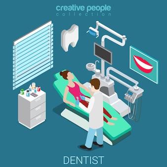 Dentysta w pokoju pracy wnętrze pacjenta odwiedzający sprzęt płaski izometryczny